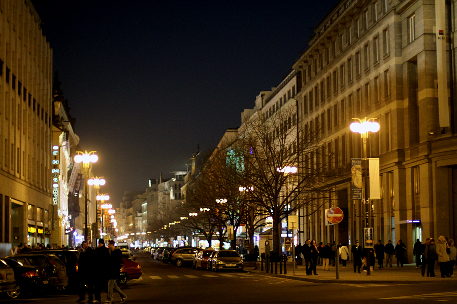 The streets of Prague at night