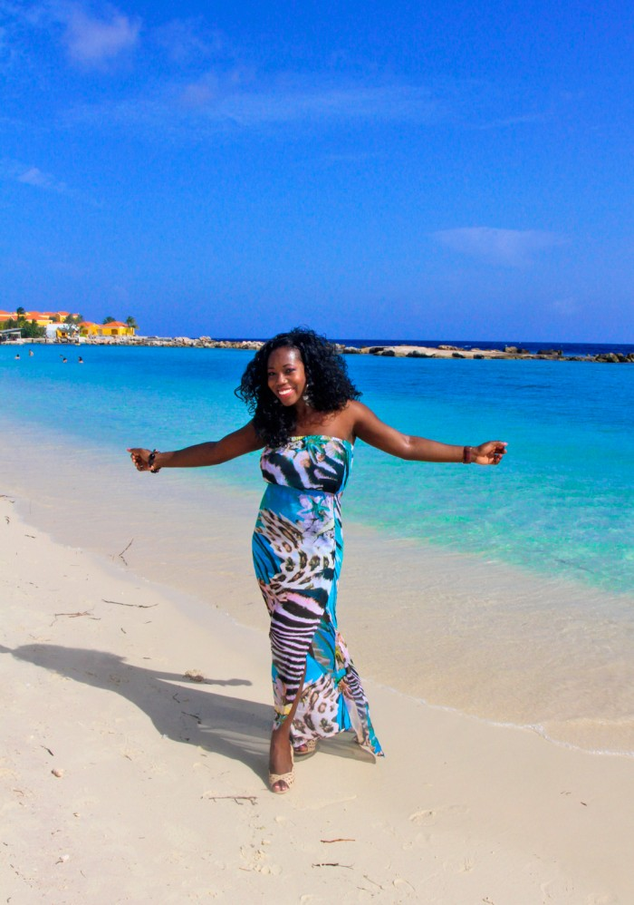 Enjoying beautiful Mambo beach on a solo excursion to the island country of Curacao