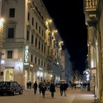 The streets of Florence at night