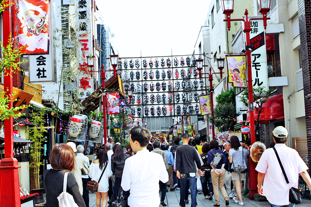 The streets of Asakusa outside of the parade route