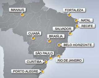 Map of Brazil World Cup