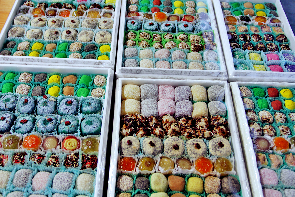 Pretty and colorful rice cakes