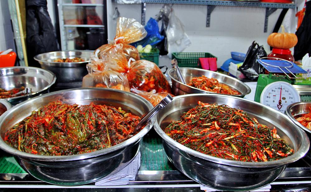 Readymade Kimchi in the market