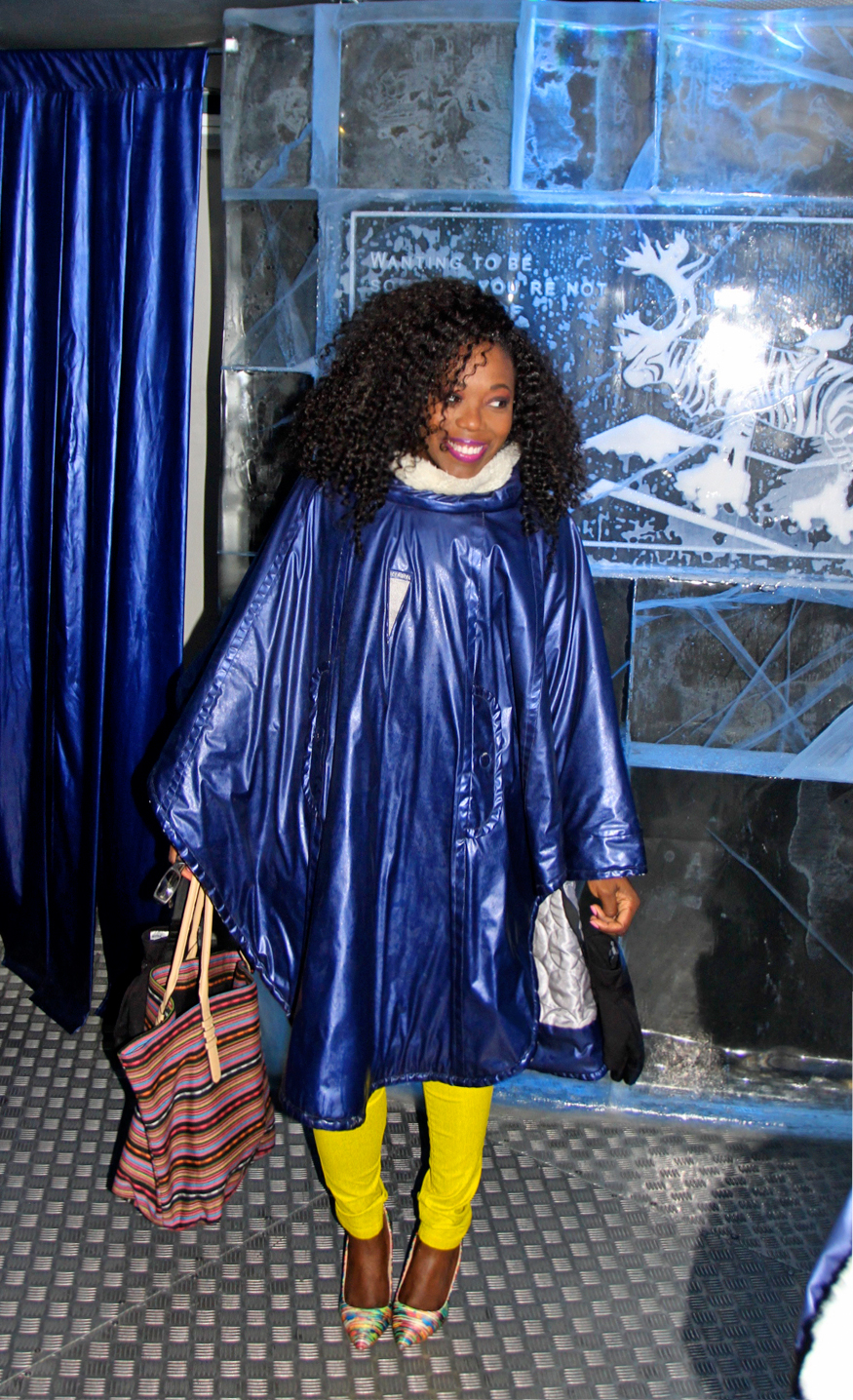 Clad in my Ice coat at the Absolut Ice Bar in Stockholm, Sweden were everything is made of ice!