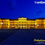 Schönbrunn Palace in Vienna, Austria at night.. it looks even more beautiful in person!
