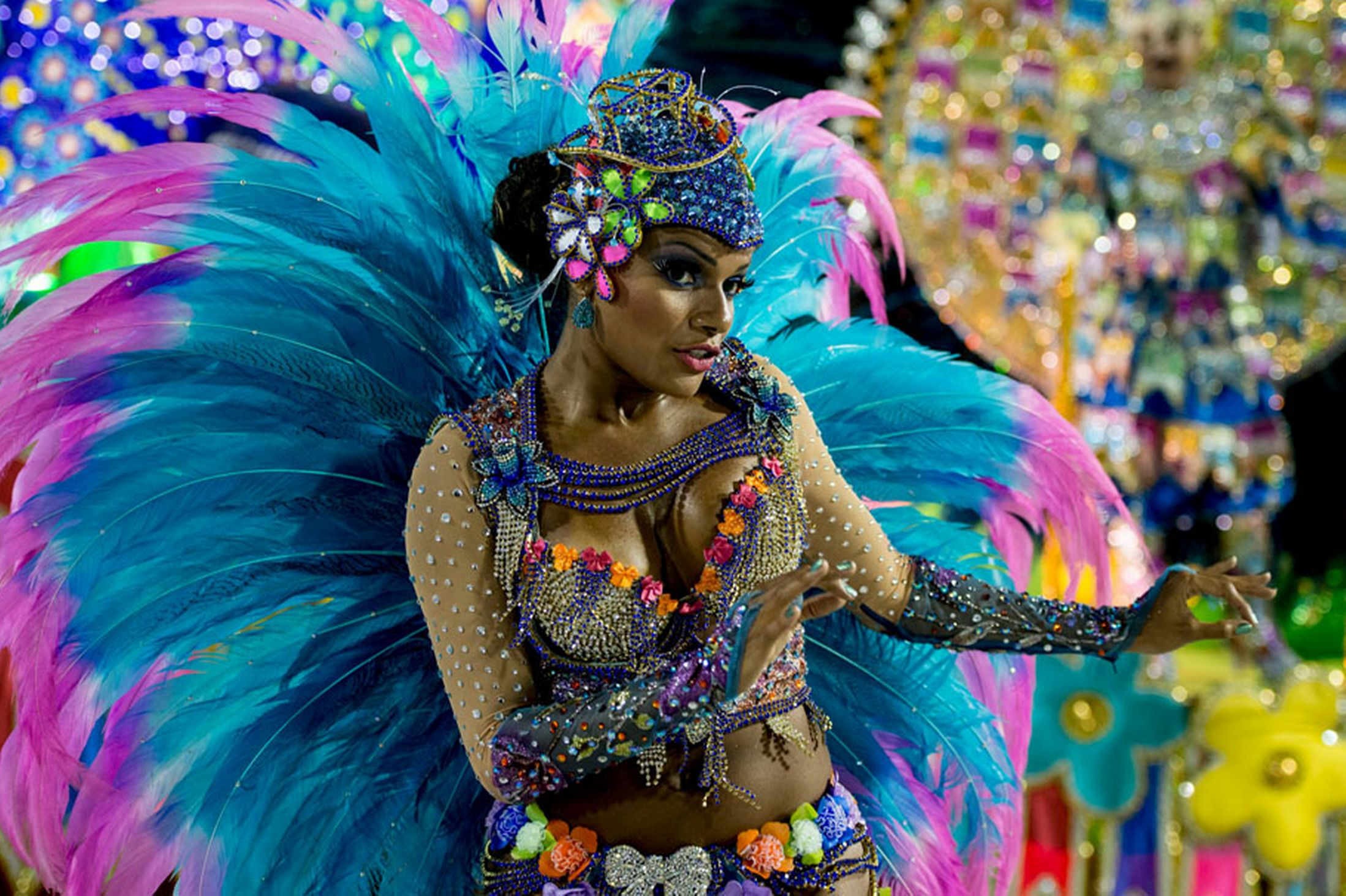 A reveller at the first night of the annual carnival parade in Rio de Janeiro's Sambadrome