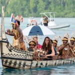 SOLOMON ISLANDS - SEPTEMBER 17 2012: Britain's Prince William and Catherine, the Duchess of Cambridge, visit Maura where they rode in a traditional canoe. (Bauer Griffin)