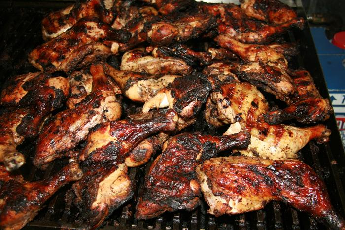 Lot of jerk chicken. Photo credit not found. TravelSeeLove.com does not claim any rights whatsoever to this photo.