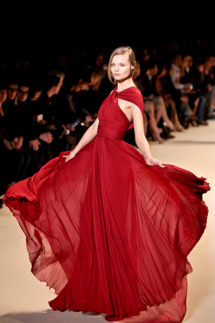 Magdalena Frackowiak, Photographed by Simon Ackerman at Elie Saab, Paris Fashion Week Fall 2011