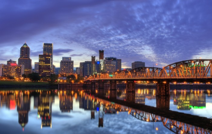 Downtown Portland & the Hawthorne Bridge. Photo credit not found. TravelSeeLove does not claim any rights whatsoever to this image.