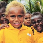 Smiling and inquisitive children at the opening of a kindergarten in the hinterland village of Barana. Picture: Corporal Janine Fabre Source: Sunday Mail (SA)
