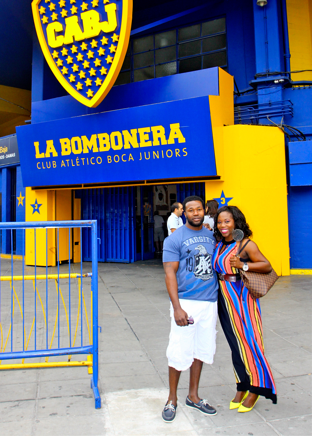 My brother and I in front of the Boca Juniors stadium