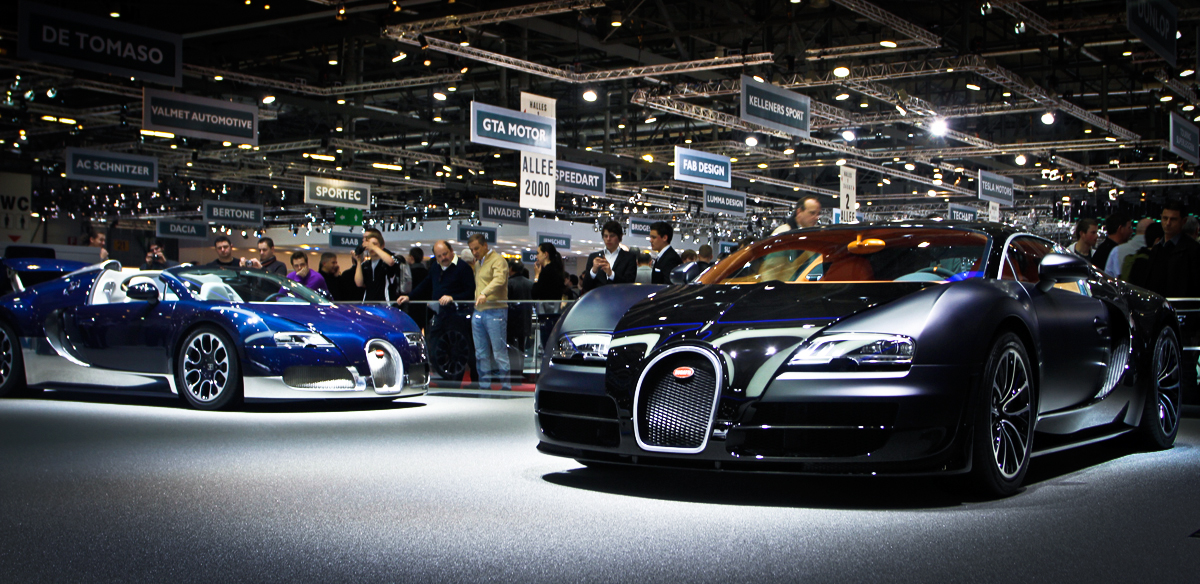 Two Bugatti Veyrons playing in the pen..