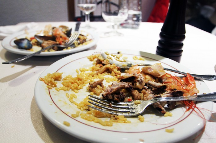 Remnants of the seafood paella - it was delicious