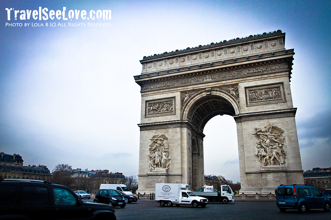 The Arc de Triomphe at the end of Champs-Élysées