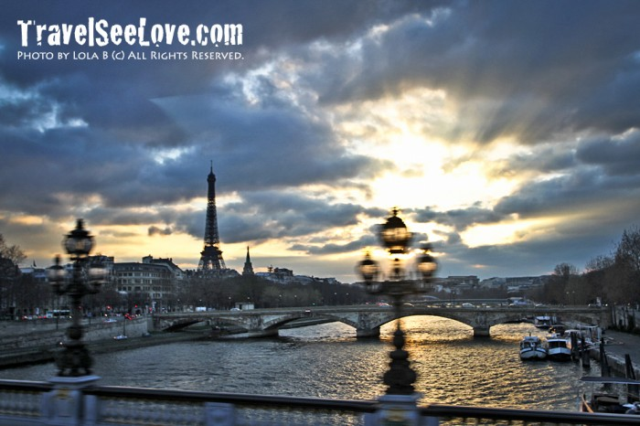 View of the Seine as the sun sets