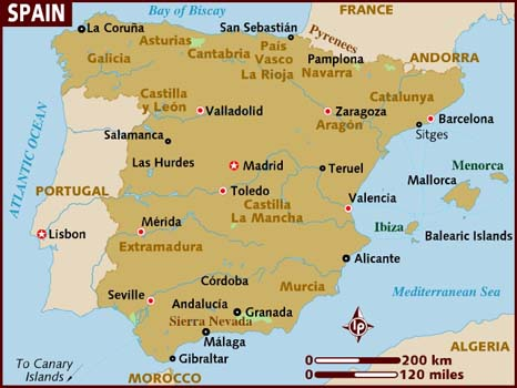 Full Map Of Spain.Map Of Spain Travelseelove