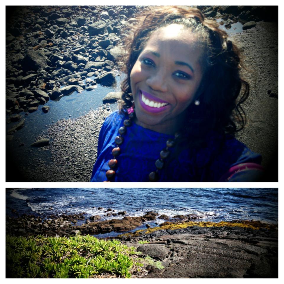 At Punalu'u Black sand beach in the Big Island of Hawaii