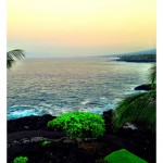 My view from my balcony as the sun rises in Kona, Big Island