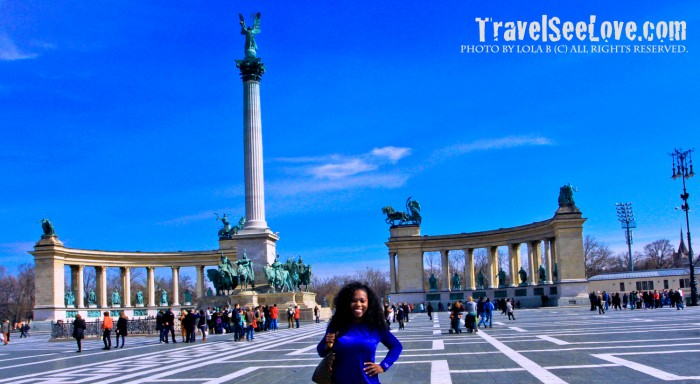 All smiles at Hősök tere which means Heroes' Square, a UNESCO World Heritage Site