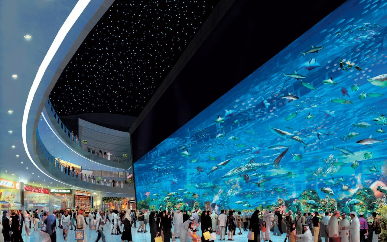 Dubai Mall Aquarium. Photo credit not found. TravelSeeLove.com does not claim any rights whatsoever to this image.