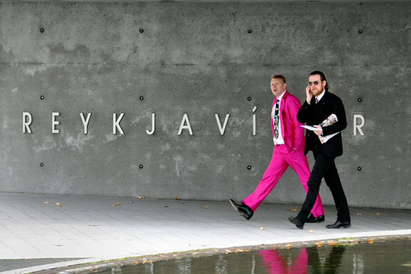 Jon Gnarr (in the pink suit) is the mayor of Reykjavik