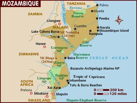 Map of Mozambique TravelSeeLove