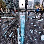 Largest 3D anamorphic street painting in the world – Canary Wharf, London