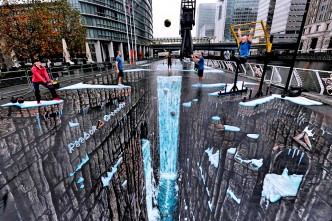 Worlds largest 3D anamorphic street painting by Joe Hill