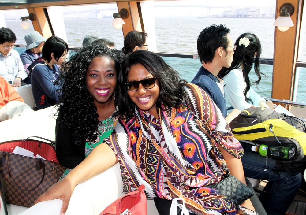 My sister Tola and I on the Sumida river cruise heading to Asakusa