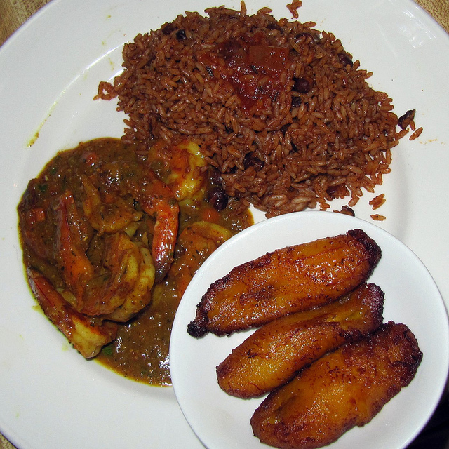 Bahamian meal of rice, plantains and shrimp. Source, flickr stream of jerseyjarzy