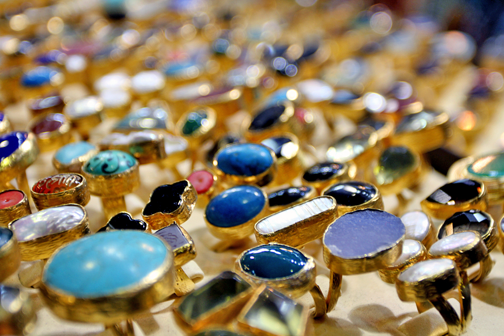 Gold jewelry and gems everywhere!