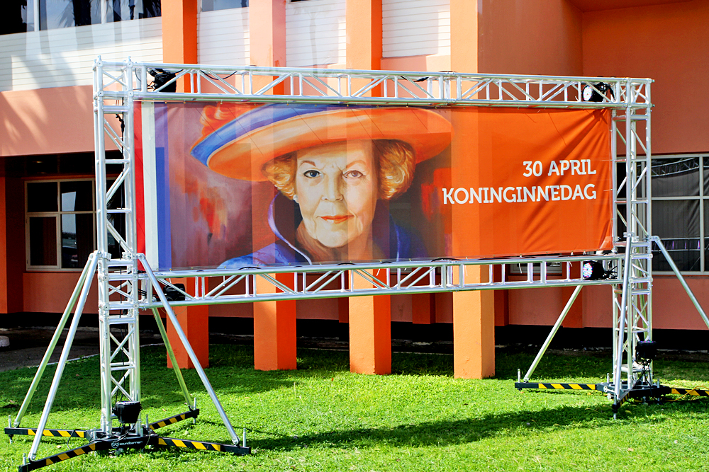 Banner of Queen Beatrix of the Netherlands in downtown Oranjestad