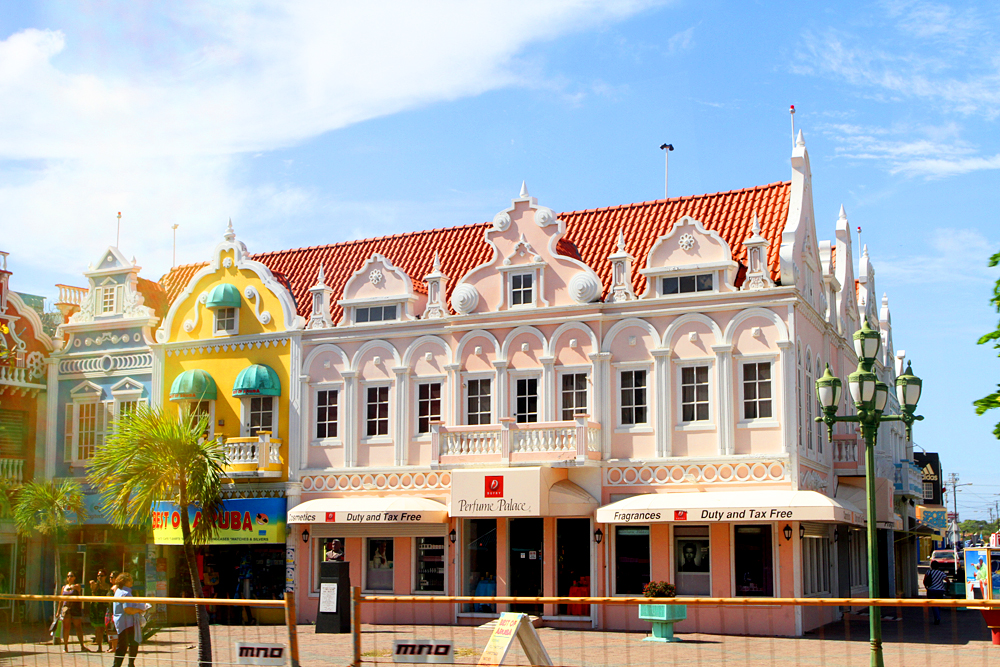 Aruban style buildings in downtown Oranjestad