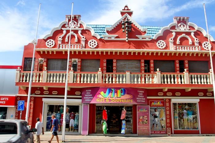Aruban style buildings in downtown Oranjestad