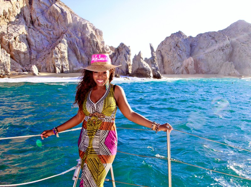 Taking a boat ride through Cabo San Lucas, Mexico